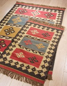 Rugs~ Ethnic Hippy Wool/Jute kilim Rug, 4 sizes~Fair trade through Folio Gothic Hippy R4824